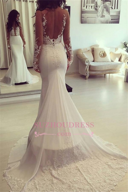 Long Sleeves Mermaid Appliques Elegant  Wedding Dresses