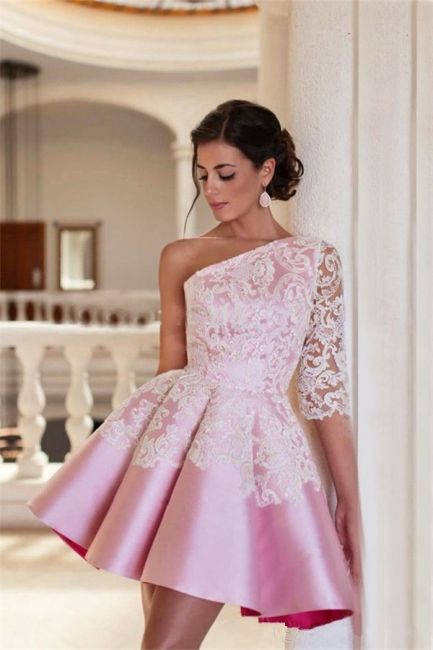One Shoulder Half Sleeve Mini Homecoming Dress A-Line Pink Lace  Cocktail Gowns