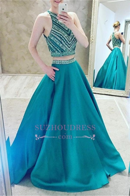 A-Line Two-Pieces Luxury Halter Crystal Sleeveless Prom Dress
