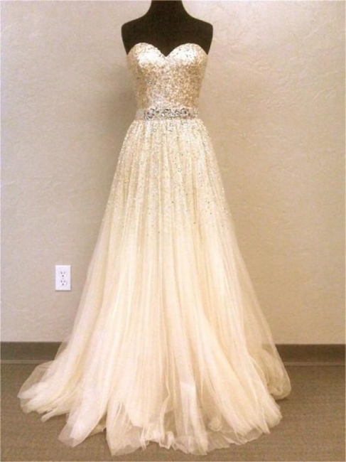 Sweetheart Tulle  Prom Dresses Sparkly Sweep Train Evening Dress