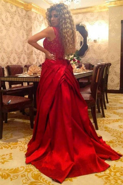 Elegant Red Lace Floor Length Evening Dress New Arrival Detachable Custom Made Special Occasion Dress