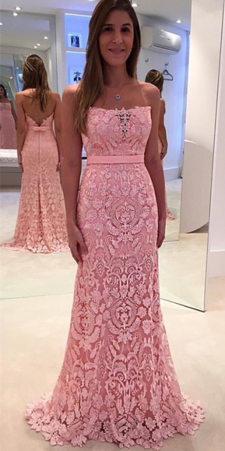 Mermaid Strapless Lace Evening Gowns Sexy Open Back Long  Party Gowns BA3861