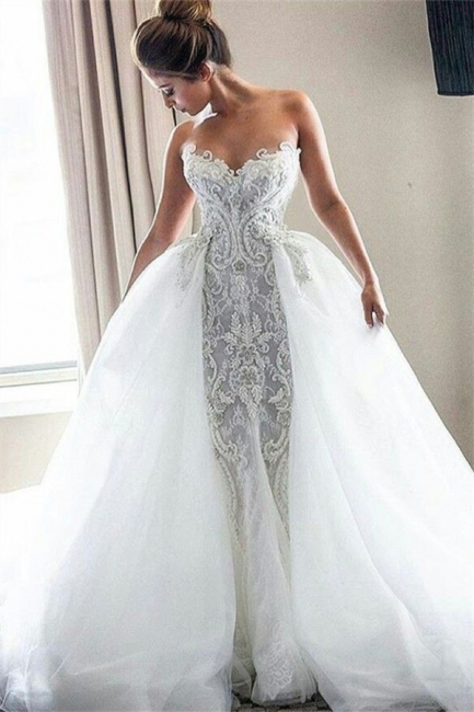 Strapless Sexy Lace Wedding Dresses   | Puffy Tulle Overskirt Bride Dresses