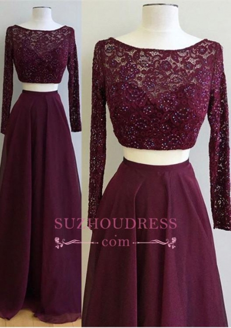 Two Pieces Burgundy Long Sleeve Prom Dress  Lace Gorgeous Evening Dress
