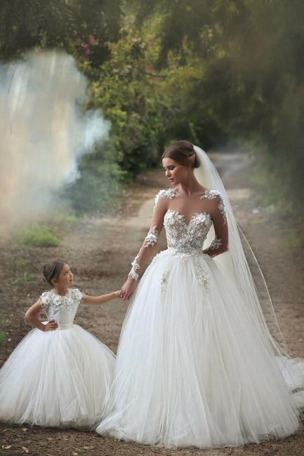 White Long Sleeve Tulle Princess Wedding Dresses Floor Length Ball Gown Flowers Bridal Gowns MH002