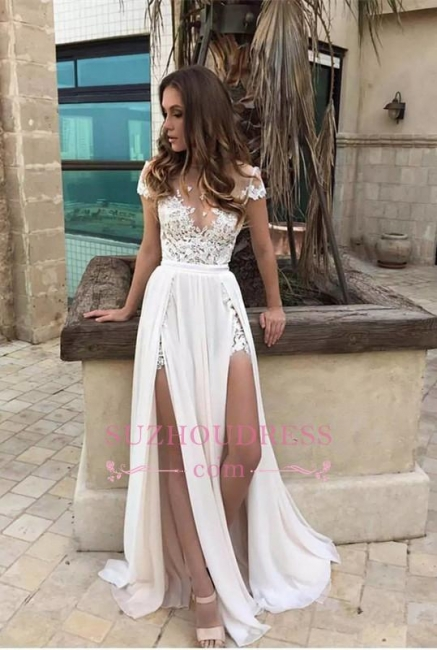 Short Sleeve Lace Appliques Chiffon Elegant Front Split A line Prom Dress