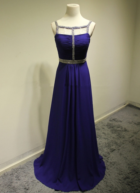 Dark Navy Spaghetti Strap Beading Prom Dresses Crystal Zipper Floor Length  Evening Dresses