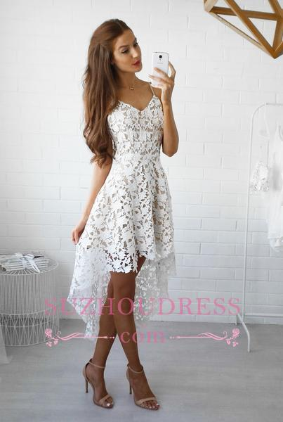Spaghetti Straps Hi-Lo Lace Formal Dress V-Neck White   Homecoming Dresses