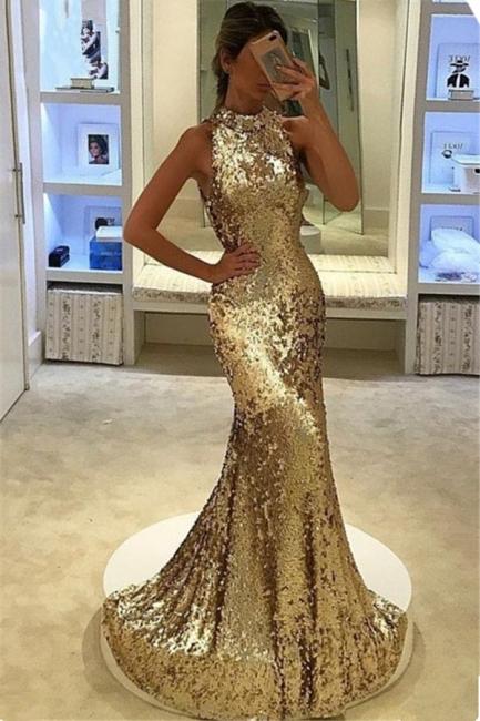 Glamorous Mermaid Sequined Prom Dresses  Halter Sleeveless Evening Dress BA7123
