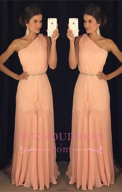 Floor Length Plicated Formal Dress   Chiffon Beautiful One Shoulder Coral Prom Dress GA0001