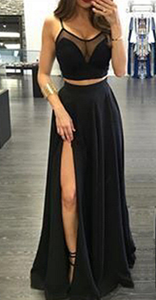 Spaghetti Strap Two Piece Black Summer Dresses A-Line Floor Length Slit  Porm Gowns BA3973