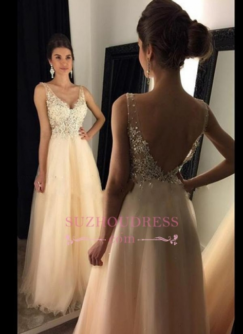 Open Back Lace Champagne Evening Gowns  V-Neck A-line Beaded Long Prom Dresses  GA078 BA4046
