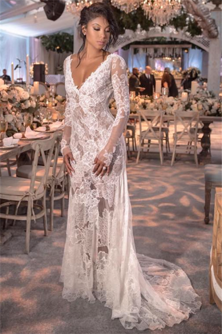 Open Back See Through Wedding Dresses Long Sleeve Lace Bridal Gowns Online