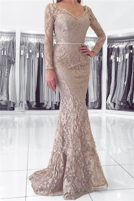 Long Sleeve Lace V-neck Evening Dresses Mermaid Open Back Buttons Grey Prom Dress