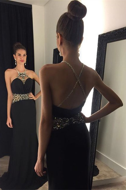 Crystal Black Halter  Prom Dress Beading Crossed Back Sleeveless Party Gown