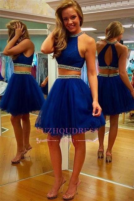 Royal-Blue  Two-Piece Organza Sleeveless Beading Puffy Homecoming Dress BA3708