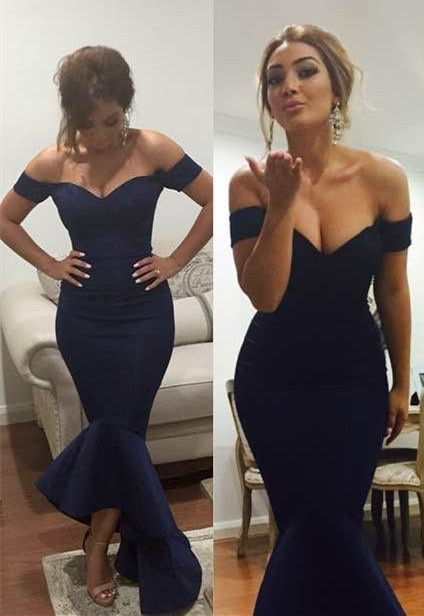 Simple Off Shoulder Mermaid Long Formal Occasion Dress Sexy  Trumpet Plus Size Evening Dress