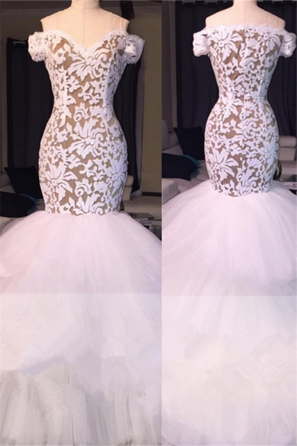 White Off the Shoulder Prom Dresses  | Mermaid Lace Evening Gowns  BA7796