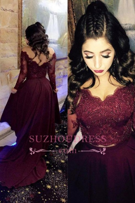 A-line Newest Long Sleeve   Beads Hi-lo Lace-Appliques Prom Dress