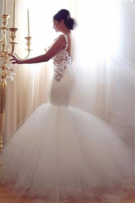 Lace Mermaid Tulle  Wedding Gowns Open Back Sleeveless Sexy Bride Dresses Online