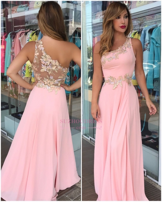 Pink One-Shoulder Flowers Prom Dresses   Sleeveless Floor Length Evening Gowns