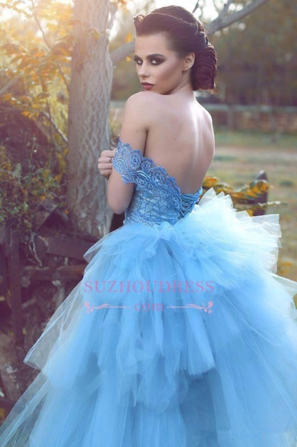 Tulle Blue Lace Glamorous Off-the-shoulder Evening Dress