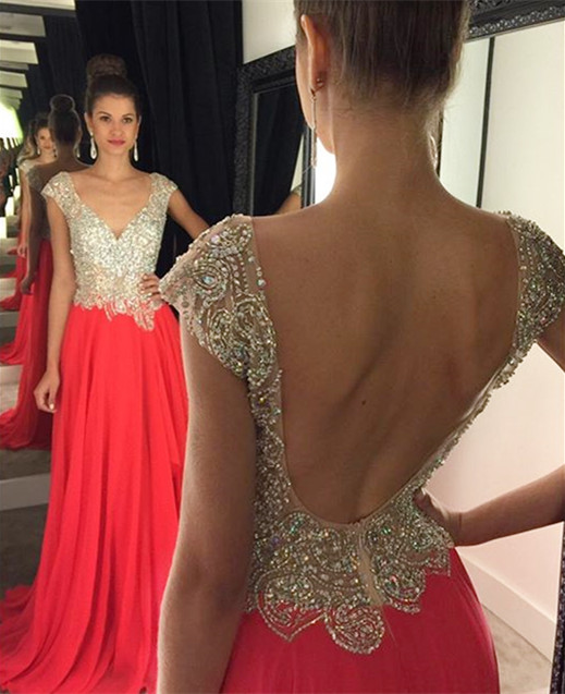 Crystal Plunging Neck Backless Evening Gown New Arrival Short Sleeve Beading Prom Dress GA013