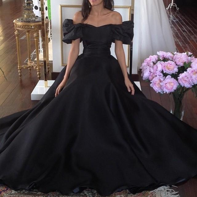 Vintage 1950s Ball Gown Evening Dress Off The Shoulder Black Prom Dress