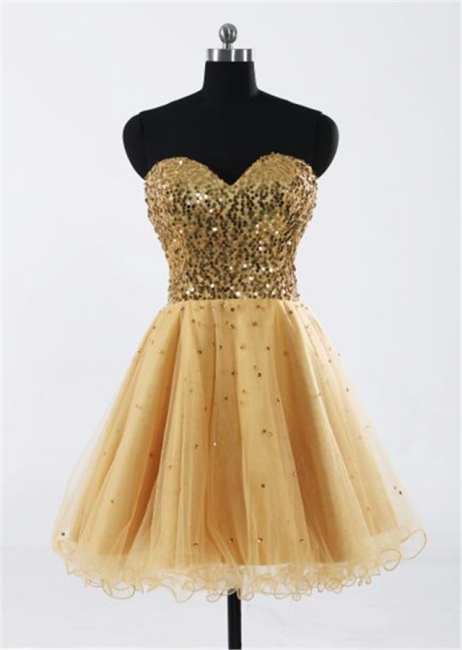 Sweetheart Gold Sequined Mini Homecoming Dress Cute Organza Lace-Up Mini Bridesmaid Dresses CJ0395