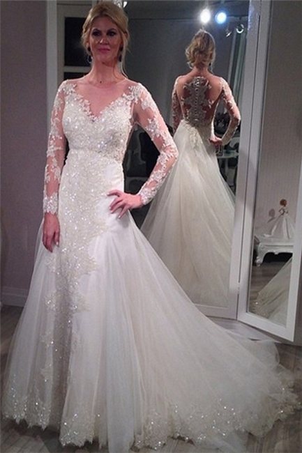 Sheer Scoop Long Sleeve Wedding Dress Sparkly Lace Court Train Bridal Gowns BA4036