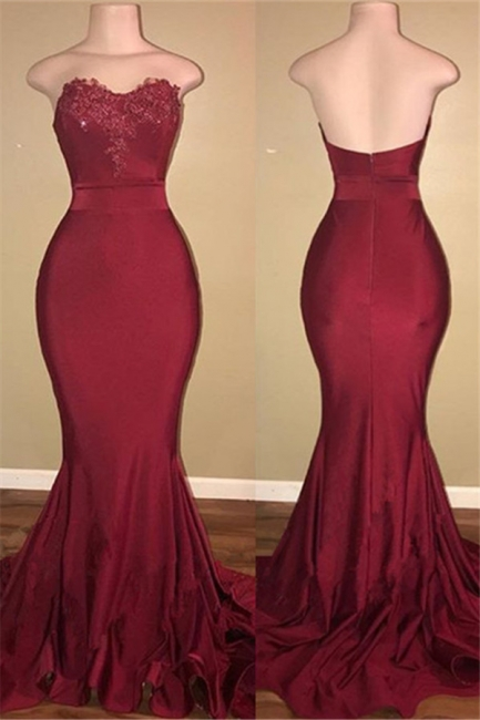 Strapless Burgundy Sexy Burgundy Prom Dress  | Mermaid Long Train Appliques Evening Gown