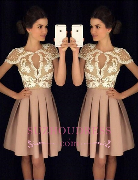 Newest Appliques A-Line Beadings Short-Sleeves Short Homecoming Dresses