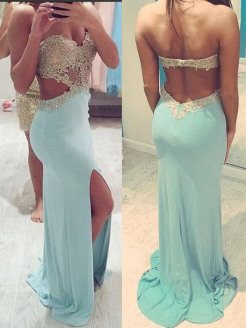 Blue Backless Prom Dresses  Sweetheart Beading Evening Gown with Cutaway Sides CE039