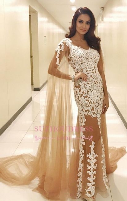 Lace Appliques Champagne Tulle Evening Dresses |  Popular Prom Dresses with Cape