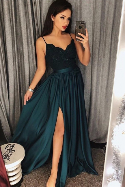 Spaghetti Straps Dark Green Sexy Evening Dresses | Side Slit Sleeveless  Formal Dress