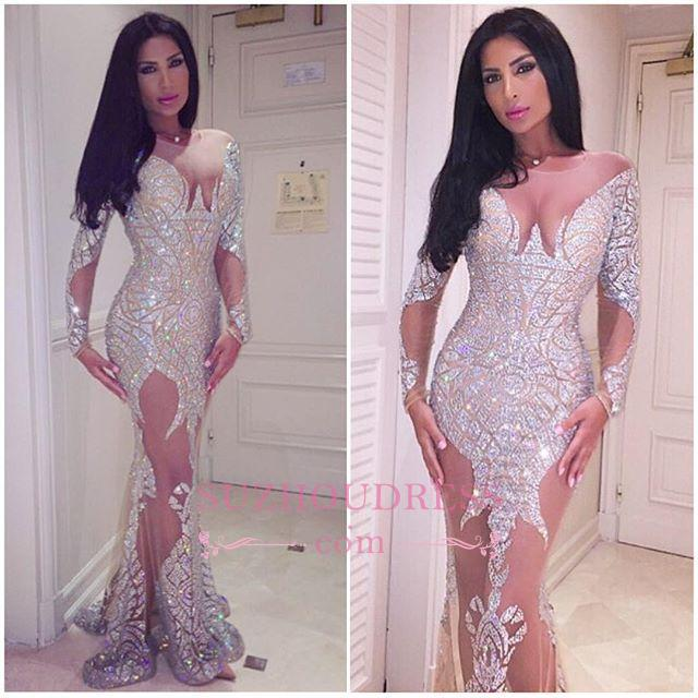 Sheer Tulle Crystals Sexy Evening Gowns Glamorous Mermaid Long Sleeve  Prom Dress BA3877