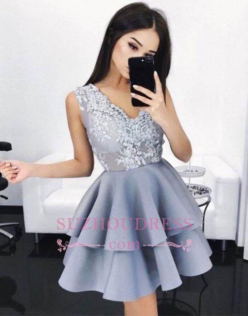 A-line Layers V-Neck Sleeveless Lace Elegant  Short Homecoming Dresses BA6590