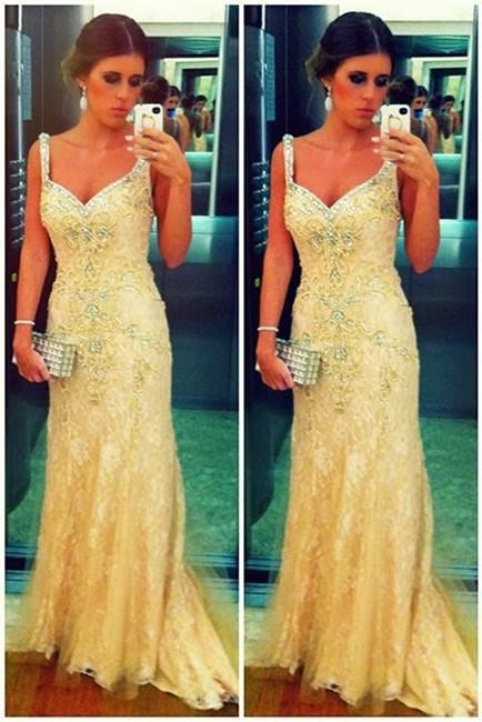 Lace Prom Dresses Spaghetti Straps Appliques Beading Sweep Train A Line Sleeveless Evening Gowns BA3498