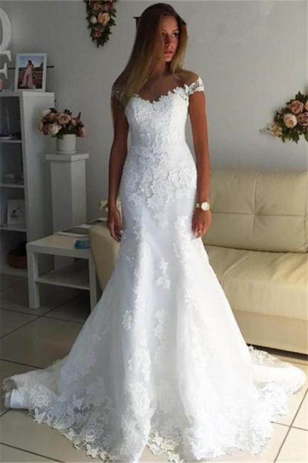 Off The Shoulder Lace Appliques Wedding Dress   Discount Bridal Gowns