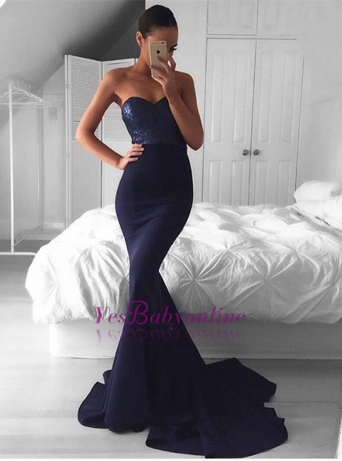Navy Sequins Mermaid Sweep-Train Sweetheart Glamorous Evening Dress BA5044