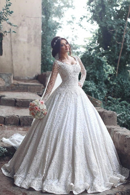 New Arrival Long Sleeve  Bridal Dress Lace Applique Custom Made Wedding Dresses MH069