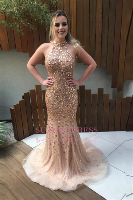 Elegant Open Back Crystal Halter Evening Gowns Sweep Train  Mermaid Prom Dress BA6613