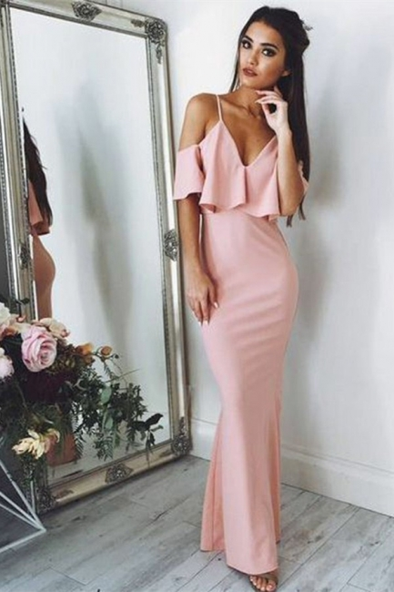 Sexy Pink Evening Dresses   | Floor Length Spaghetti Straps Formal Dresses
