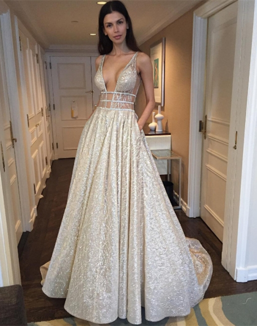 Deep V-neck Sleeveless Sexy Unique Sparkly Fabric Open Back  Evening Dresses