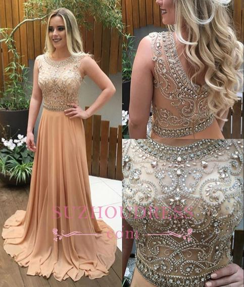 A-line Crystals Beaded Long Evening Gwons  Champagne Chiffon Luxury Prom Dresses