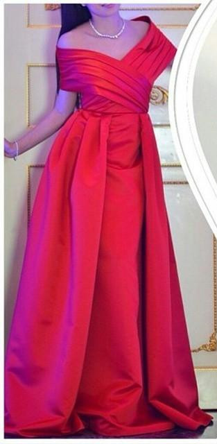 Off Shoulder Red Prom Dresses  Stretch Satin Formal Evening Dress Long