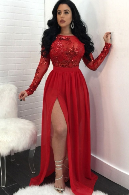 Sexy Long Sleeves Appliques Prom Dresses  | Open Back Side Slit Sequined Evening Dress SK0181