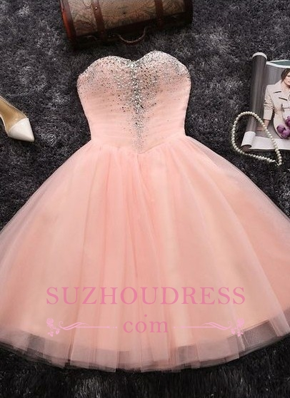 Elegant Crystals Sweetheart-Neck Pink A-line Short Homecoming Dresses BA6909