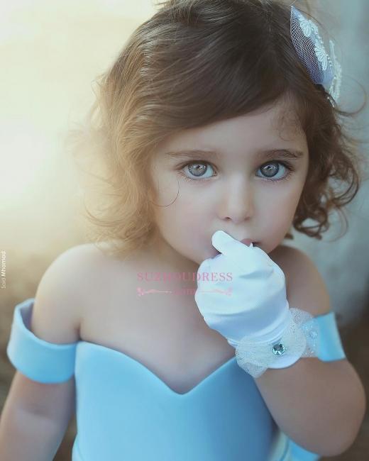 Lovely Simple Blue Bow Off-the-Sholder Flower-Girls Dresses BA7114