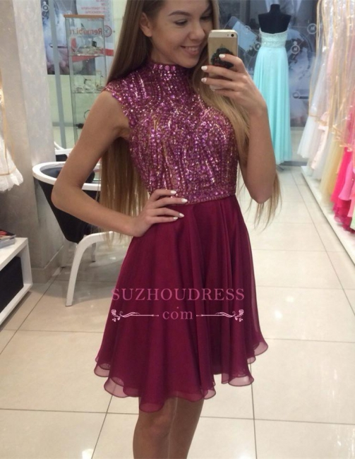 Cute Mini Sleeveless Crystal High Neck Beading Homecoming Dresses